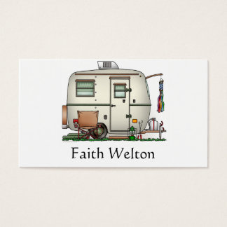 Cute RV Vintage Glass Egg Camper Travel Trailer Business Card