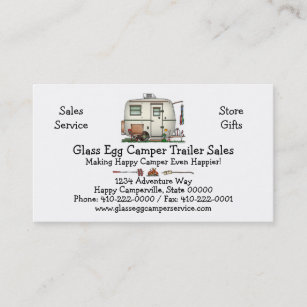 Camping business cards templates zazzle cute rv vintage glass egg camper travel trailer business card colourmoves