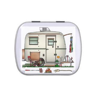 Cute RV Vintage Glass Egg Camper Travel Trailer Candy Tins