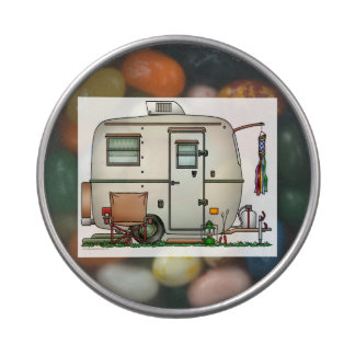 Cute RV Vintage Glass Egg Camper Travel Trailer Jelly Belly Tins