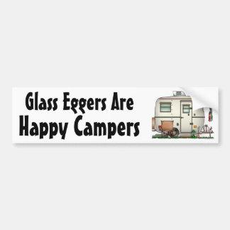 Cute RV Vintage Glass Egg Camper Travel Trailer Car Bumper Sticker