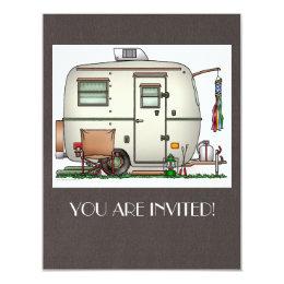 Cute RV Vintage Glass Egg Camper Travel Trailer Card