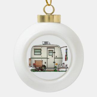 Cute RV Vintage Glass Egg Camper Travel Trailer Ceramic Ball Christmas Ornament
