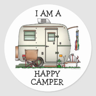 Cute RV Vintage Glass Egg Camper Travel Trailer Classic Round Sticker