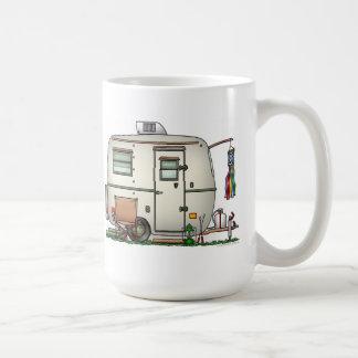 Cute RV Vintage Glass Egg Camper Travel Trailer Classic White Coffee Mug