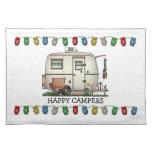 Cute RV Vintage Glass Egg Camper Travel Trailer Cloth Place Mat