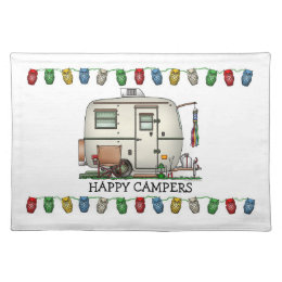 Cute RV Vintage Glass Egg Camper Travel Trailer Cloth Placemat