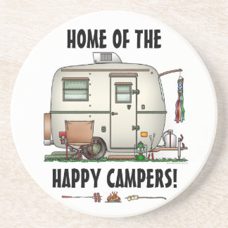 Cute RV Vintage Glass Egg Camper Travel Trailer Coaster