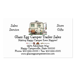 Cute RV Vintage Glass Egg Camper Travel Trailer Double-Sided Standard Business Cards (Pack Of 100)