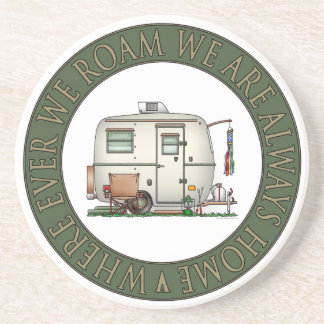 Cute RV Vintage Glass Egg Camper Travel Trailer Drink Coaster