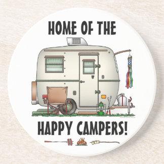 Cute RV Vintage Glass Egg Camper Travel Trailer Drink Coasters