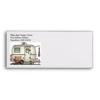 Cute RV Vintage Glass Egg Camper Travel Trailer Envelope