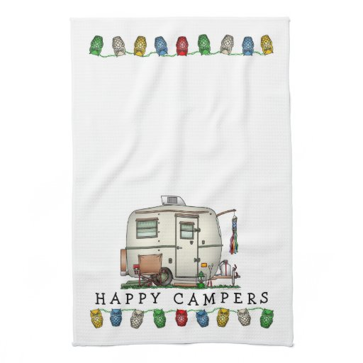 Cute RV Vintage Glass Egg Camper Travel Trailer Hand Towel