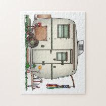 Cute RV Vintage Glass Egg Camper Travel Trailer Jigsaw Puzzle