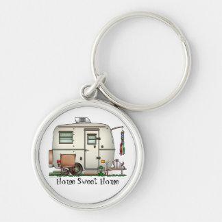 Cute RV Vintage Glass Egg Camper Travel Trailer Keychain
