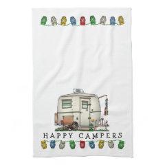 Cute RV Vintage Glass Egg Camper Travel Trailer Towels