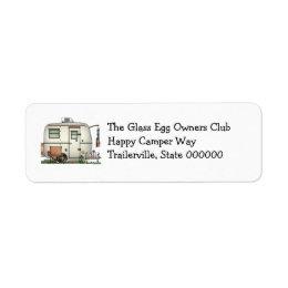 Cute RV Vintage Glass Egg Camper Travel Trailer Label