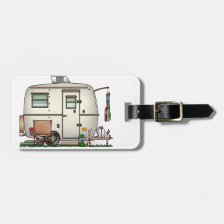 Cute RV Vintage Glass Egg Camper Travel Trailer Luggage Tag