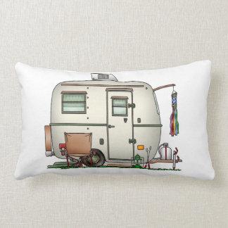 Cute RV Vintage Glass Egg Camper Travel Trailer Lumbar Pillow