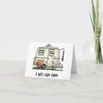Cute RV Vintage Glass Egg Camper Travel Trailer Note Card