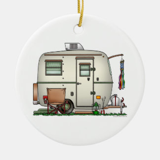 Cute RV Vintage Glass Egg Camper Travel Trailer Double-Sided Ceramic Round Christmas Ornament