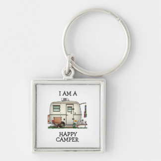 Cute RV Vintage Glass Egg Camper Travel Trailer Silver-Colored Square Keychain