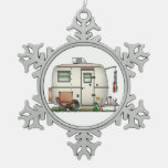 Cute RV Vintage Glass Egg Camper Travel Trailer Snowflake Pewter Christmas Ornament