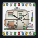 "Cute RV Vintage Glass Egg Camper Travel Trailer Square Wall Clock<br><div class=""desc"">Memories of camping last a lifetime! And so do those memories of your glass egg camper. These whimsical glass egg camper candy jar are as cute as they can be:) This glass egg vintage camping trailer was designed by artist Richard Neuman. His uniquely styled vintage trailers artwork is collected worldwide....</div>"