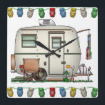"""Cute RV Vintage Glass Egg Camper Travel Trailer Square Wall Clock<br><div class=""""desc"""">Memories of camping last a lifetime! And so do those memories of your glass egg camper. These whimsical glass egg camper candy jar are as cute as they can be:) This glass egg vintage camping trailer was designed by artist Richard Neuman. His uniquely styled vintage trailers artwork is collected worldwide....</div>"""