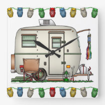Cute RV Vintage Glass Egg Camper Travel Trailer Square Wall Clock