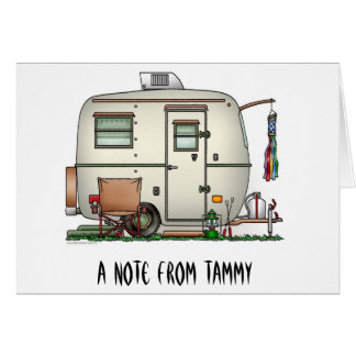 Cute RV Vintage Glass Egg Camper Travel Trailer Stationery Note Card