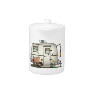 Cute Rv Vintage Glass Egg Camper Travel Trailer Teapot at Zazzle