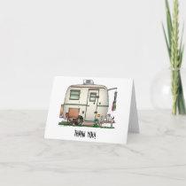 Cute RV Vintage Glass Egg Camper Travel Trailer Thank You Card