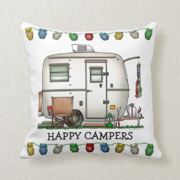 Cute RV Vintage Glass Egg Camper Travel Trailer Throw Pillow