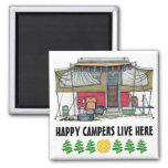 Cute RV Vintage Popup Camper Travel Trailer 2 Inch Square Magnet