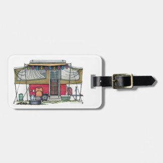 Cute RV Vintage Popup Camper Travel Trailer Bag Tag