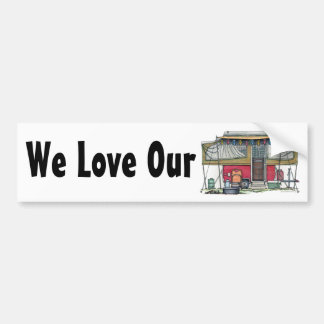 Cute RV Vintage Popup Camper Travel Trailer Bumper Sticker