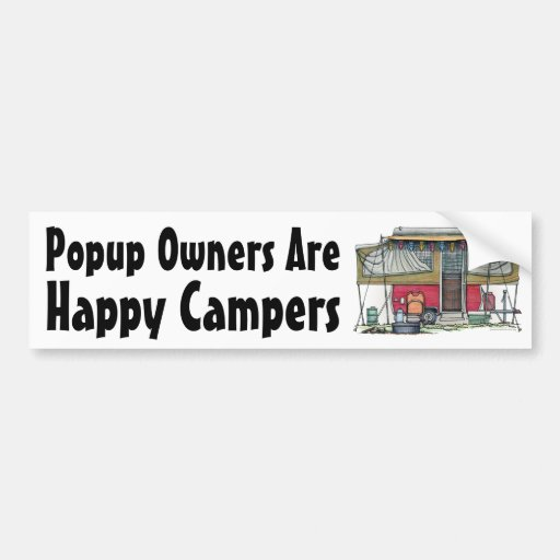 Cute RV Vintage Popup Camper Travel Trailer Bumper Sticker