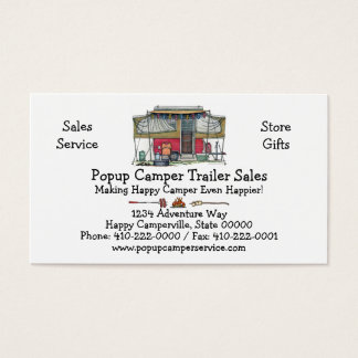 Cute RV Vintage Popup Camper Travel Trailer Business Card