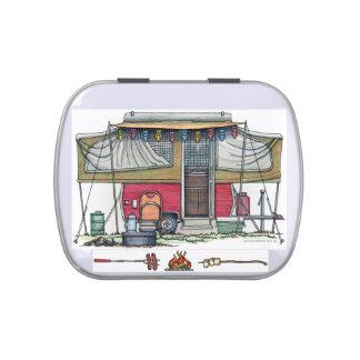 Cute RV Vintage Popup Camper Travel Trailer Candy Tins