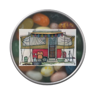 Cute RV Vintage Popup Camper Travel Trailer Jelly Belly Candy Tin