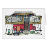 Cute RV Vintage Popup Camper Travel Trailer Greeting Cards