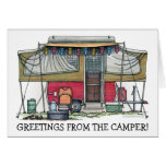 Cute RV Vintage Popup Camper Travel Trailer Stationery Note Card
