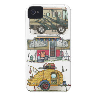 Cute RV Vintage Popup Camper Travel Trailer iPhone 4 Case