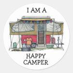 Cute RV Vintage Popup Camper Travel Trailer Classic Round Sticker