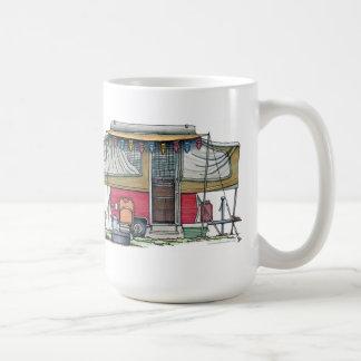 Cute RV Vintage Popup Camper Travel Trailer Classic White Coffee Mug