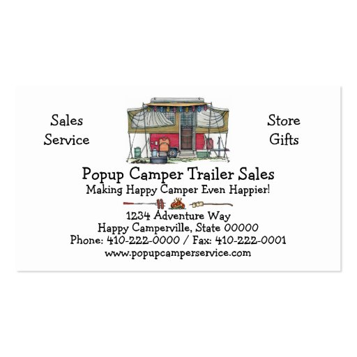 Cute RV Vintage Popup Camper Travel Trailer Double-Sided Standard Business Cards (Pack Of 100)