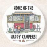 Cute RV Vintage Popup Camper Travel Trailer Drink Coaster