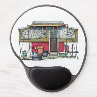 Cute RV Vintage Popup Camper Travel Trailer Gel Mouse Pad