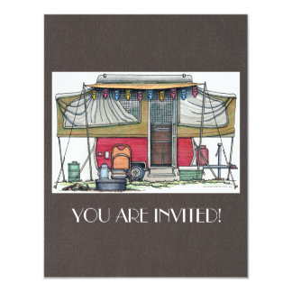 Cute RV Vintage Popup Camper Travel Trailer 4.25x5.5 Paper Invitation Card